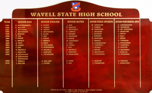 Wavell State High School Honour Board (1995-2011)