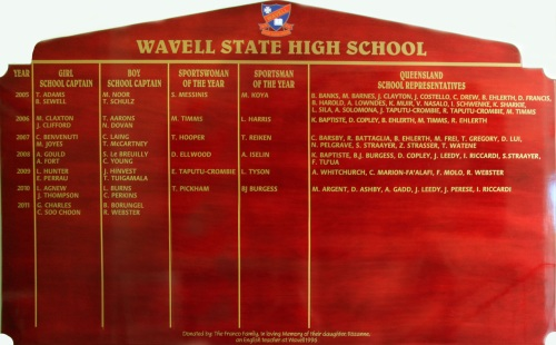 Wavell State High School Honour Board (2005-2011)